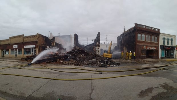 Firefighters put out hot spots in Virden Saturday evening.