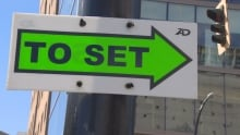 To Set sign Vancouver film production