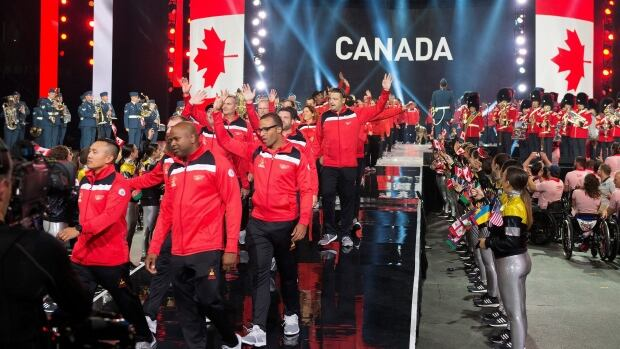 Team Canada arrives during the opening ceremonies of the Invictus Games in Toronto on Saturday.