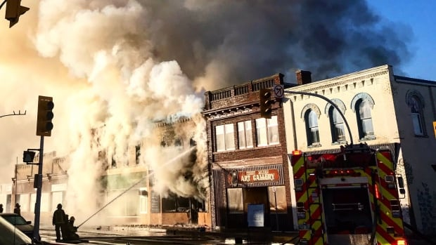 A section of Virden's 7th Avenue burns on Saturday.