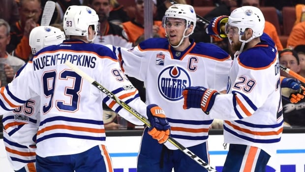 Edmonton Oilers captain Connor McDavid, centre, is coming off a 100-point MVP season. Led by the 20-year-old, Edmonton ended a 10-year playoff drought last season.