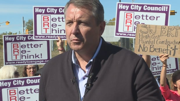 Calgary mayoral candidate Bill Smith says he's backing Ready to Engage, a group against the 22-kilometre Southwest Bus Rapid Transit route from Woodbine to the downtown core.
