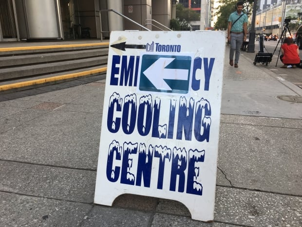Toronto cooling centre sign