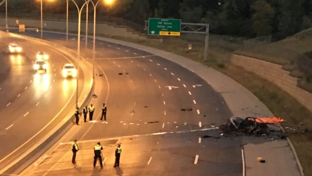 Whitemud Drive westbound from Fox Drive to 149th Street will be closed for several hours as police investigate the collision.