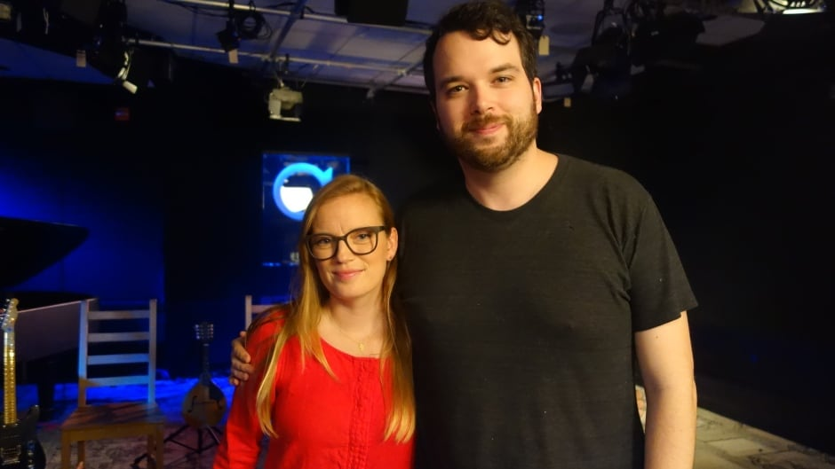 Writer and director Sarah Polley with Tom Power in the q studios in Toronto, Ont.