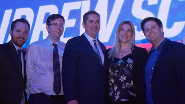 Conservative Leader Andrew Scheer, middle, poses with some members of his leadership campaign team at the Conservative leadership convention in May. From left, Marc-André Leclerc, Hamish Marshall, Scheer, Kenzie Potter and Stephen Taylor.