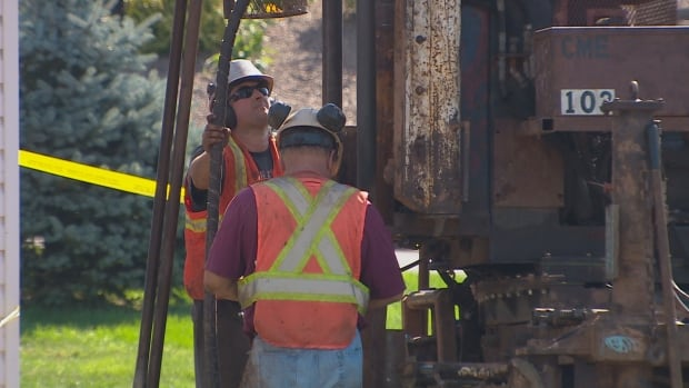 Crews drill for soil and rock samples three weeks after a home collapsed into a sinkhole in Falmouth, N.S.