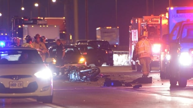 A woman is dead after a five-vehicle crash on the Skyway Bridge Monday morning.