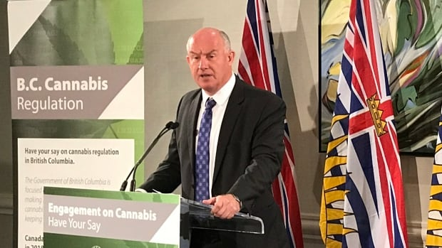 Public safety minister Mike Farnworth announces a public engagement process for the regulation of marijuana in British Columbia on Sept. 25, 2017.