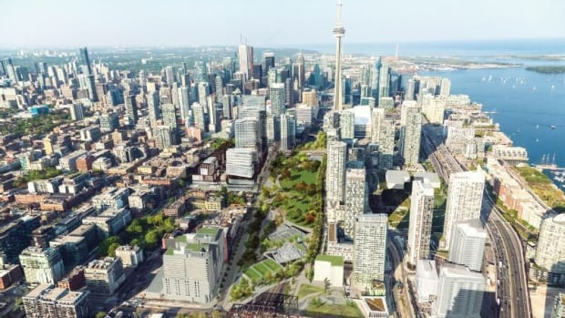 The city's rendering of the proposed Rail Deck Park shows a far greener downtown core than exists today.