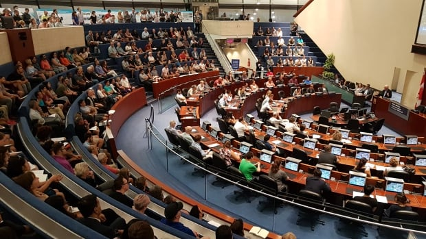 The city council chamber was crowded Monday evening to discuss the future of the proposed Rail Deck Park, a sprawling green space that would stretch from west of the Air Canada Centre to Bathurst.