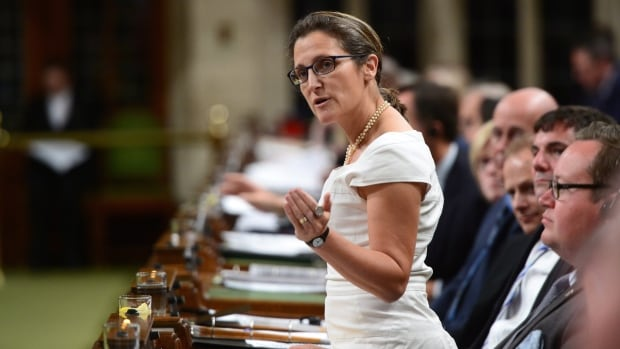 Minister of Foreign Affairs Chrystia Freeland will host the U.S. and Mexican trade delegations for the third round of NAFTA talks Tuesday. Later she will host a dinner at the National Arts Centre, where she will make a pitch to maintain Canada's cultural protections under a renegotiated deal.