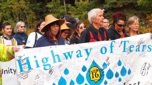 Walkers in the 'Tears 4 Justice' complete their journey from Prince Rupert, B.C., to Smithers for the National Inquiry into Missing and Murdered Indigenous Women and Girls.