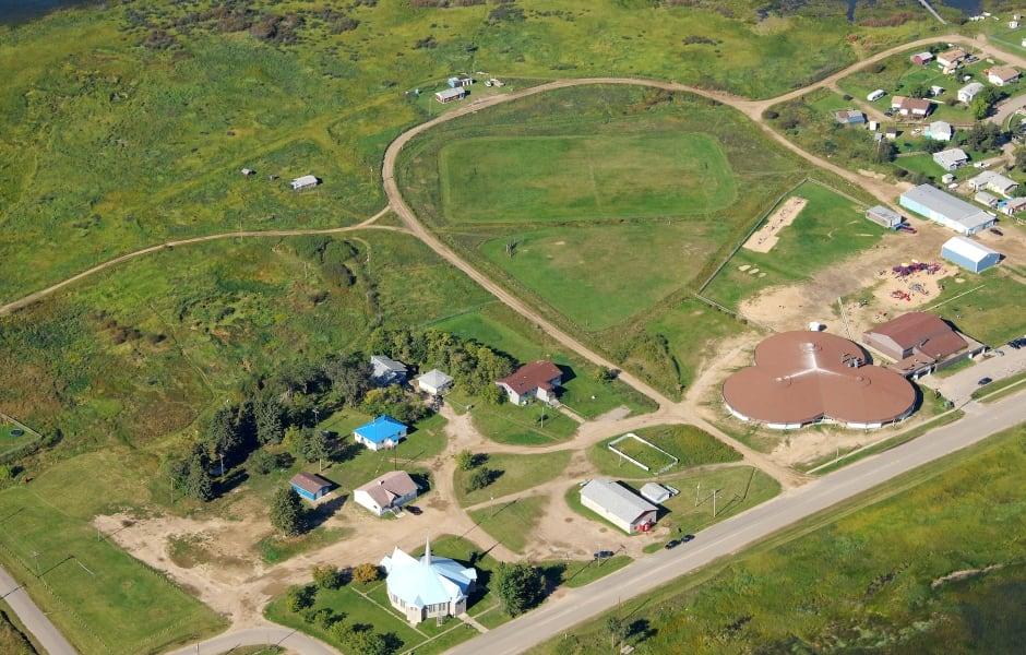 Aerial shot of Ile-a-la-Crosse residential school