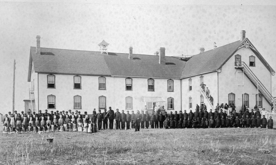 Battleford Industrial School and students on sport day, 1895