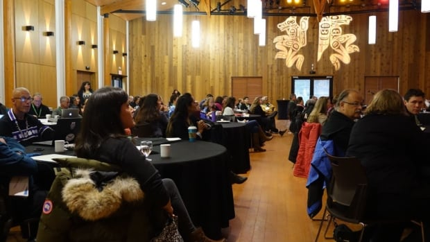 Delegates are meeting at the Kwanlin Dün Cultural Centre in Whitehorse. One feature of the conference is pairing elders and youth to discuss ideas for change.