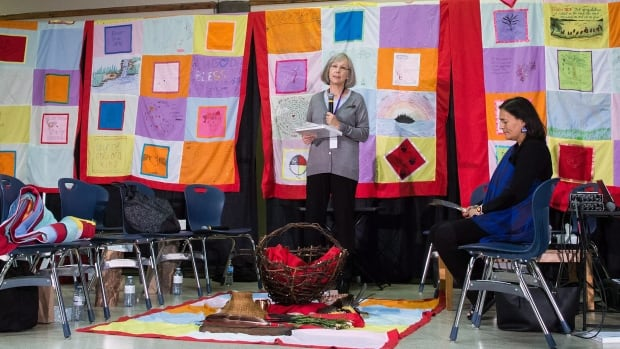 Chief commissioner Marion Buller speaks before the start of hearings at the National Inquiry into Missing and Murdered Indigenous Women and Girls, in Smithers, B.C., in September.
