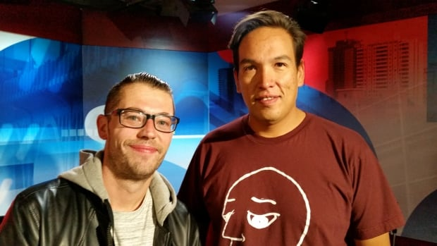 Dave Nelson, left, aka Emotionz and Brad Bellegarde aka InfoRed are in Saskatoon to teach young people about connections between urban Indigenous culture and hip hop.
