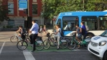 Montreal cyclists downtown bus