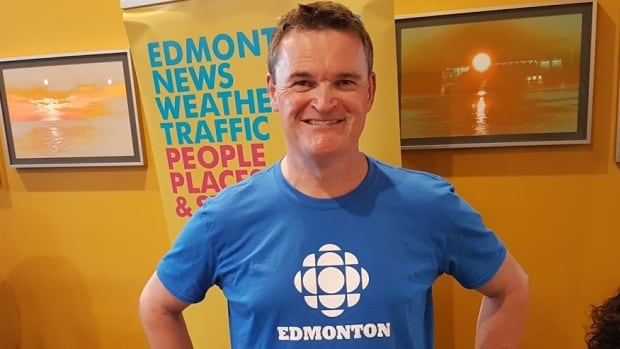 CBC Edmonton's Mark Connolly was all smiles as the special evening broadcast got started.