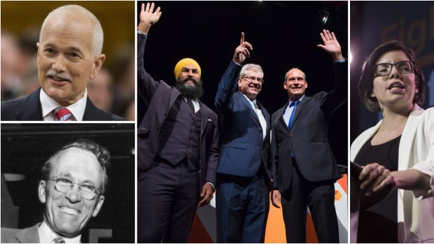 The four NDP leadership candidates, right to left, Niki Ashton, Guy Caron, Charlie Angus and Jagmeet Singh are looking to follow in the footsteps of party legends Jack Layton, top, and Tommy Douglas.