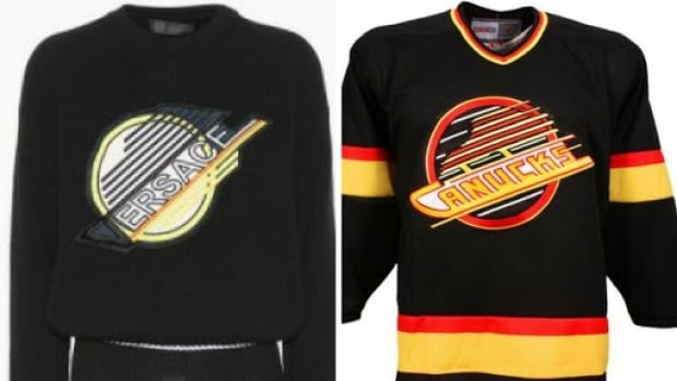 The new $1, 525 Versace logo, left, looks awfully familiar to the one once sported by the Vancouver Canucks.
