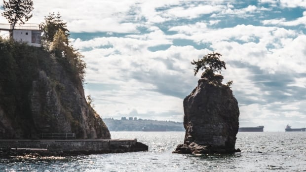 Siwash Rock, between Third Beach and the Lions Gate Bridge, is a 32-million-year-old sea stack.