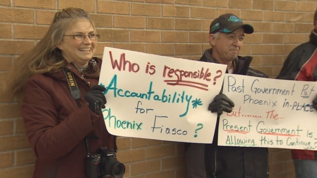 Federal workers in Miramichi protest against the Phoenix pay system.