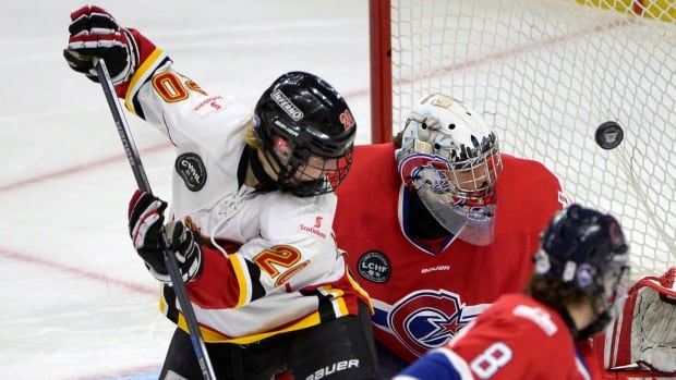 Jessica Campbell (20), pictured here with the Calgary Inferno of the CWHL, retired from Canada's women's hockey team Friday.