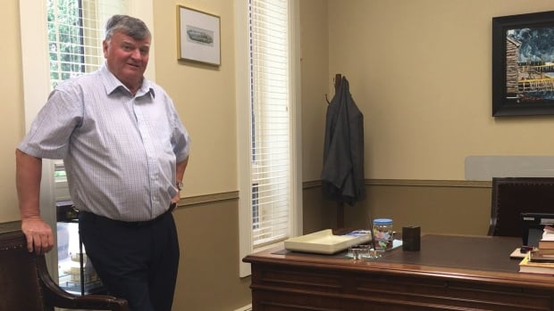 Claude Elliott looks over his emptied office just moments before attending his last meeting of council as mayor of Gander.