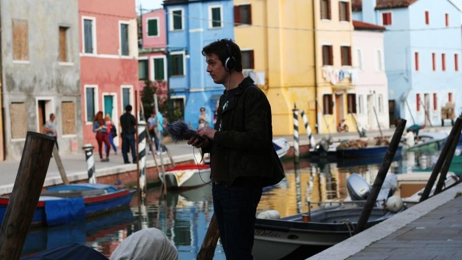 Stuart Fowkes recording in Burano, Italy