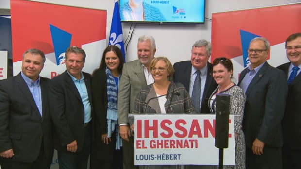 A topsy-turvy campaign for the Louis-Hébert byelection ends tonight. Liberal candidate Ihssane El Ghernati, at the microphone, was a political aide to former minister Sam Hamad, who vacated the seat.