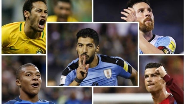 Soccer stars such as, clockwise from top left, Neymar, Lionel Messi, Cristiano Ronaldo, Kylian Mbappe and Luis Suarez are all looking to lead their countries into the 2018 World Cup in Russia.