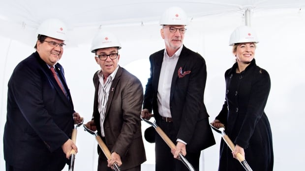 Montreal Mayor Denis Coderre, Roger Plamondon, the president of Broccolini, Hubert Lacroix, president and CEO of CBC/Radio-Canada and Heritage Minister Mélanie Joly were at the event on Sunday.