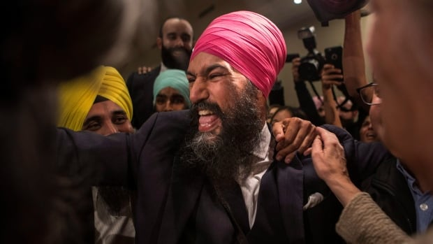 Jagmeet Singh celebrates with supporters after winning the first ballot in the NDP leadership race to be elected the leader of the federal New Democrats in Toronto on Sunday, October 1, 2017.