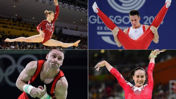 """Canada's team at this week's 47th gymnastics world championships in Montreal includes a dominant women's squad, according to CBC Sports analyst Kyle Shewfelt and a """"hungry"""" men's side, including clockwise from top left: Ellie Black, Zachary Clay, Isabela Onyshko and Scott Morgan."""