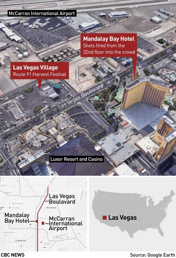 Map of Las Vegas shooting