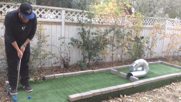 Regina resident Derek Klassen was tired of mowing his lawn, so he built a nine-hole mini golf course in his backyard. The CBC's Peter Mills tests his luck putting for the ParticipACTION 150 Play List.