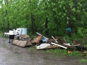 Luskville flooding debris