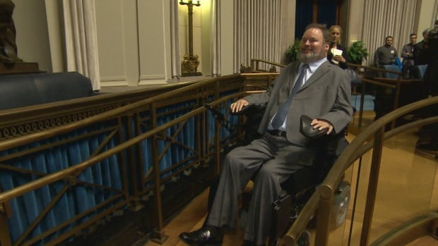 MLA Steven Fletcher missed the official reopening of the renovated chamber because he was in court fighting the government on allowing members to cross to other parties.
