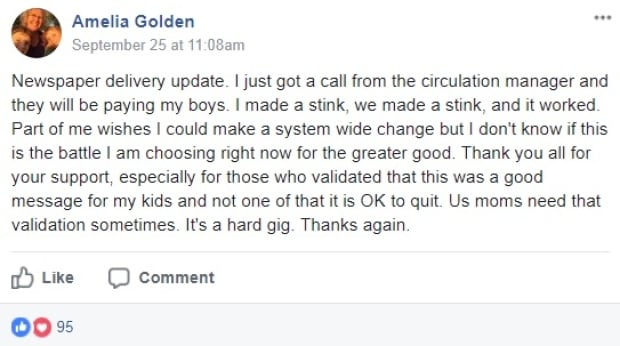Amelia Golden Facebook post
