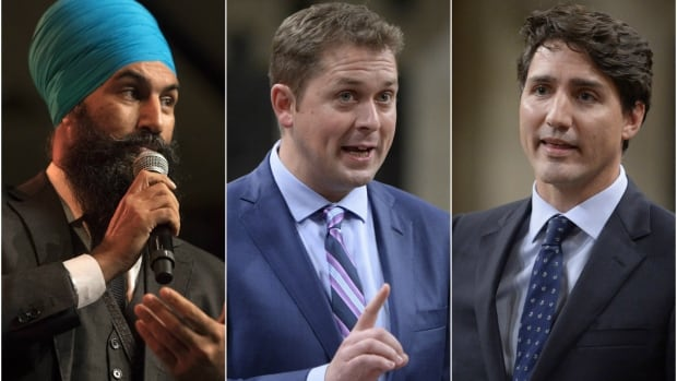 In 2019, Liberal Leader Justin Trudeau, right, Conservative Leader Andrew Scheer and NDP Leader Jagmeet Singh, left, will make up the youngest slate of major party leaders in Canada's electoral history.