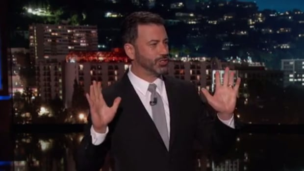 Late-night comics decried the Las Vegas mass shooting as a confounding and repetitive American tragedy, with an emotional Jimmy Kimmel among those lashing out Monday at U.S. politicians who oppose gun control.
