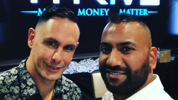 Krish Sidhu, right, with a business partner during his trip Las Vegas. He was at the Mandalay Bay hotel during Sunday night's attack.