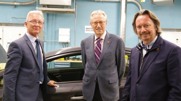 Senators Pierre Boisvenu, Art Eggleton and Dennis Dawson visited the Waterloo Centre for Automotive Research on Tuesday afternoon.