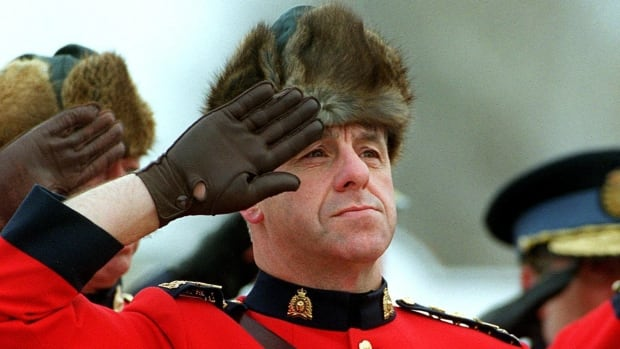 Former RCMP commissioner Giuliano Zaccardelli is pictured in one of the Mounties' traditional muskrat hats in 2001.