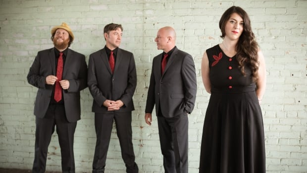 """Terra Lightfoot is seen here with her band (left to right) Jeff Heisholt (keyboards), Maury LaFoy (bass), Joel Haynes (drums). Lightfoot says her new album New Mistakes is much more of a """"full band effort."""""""