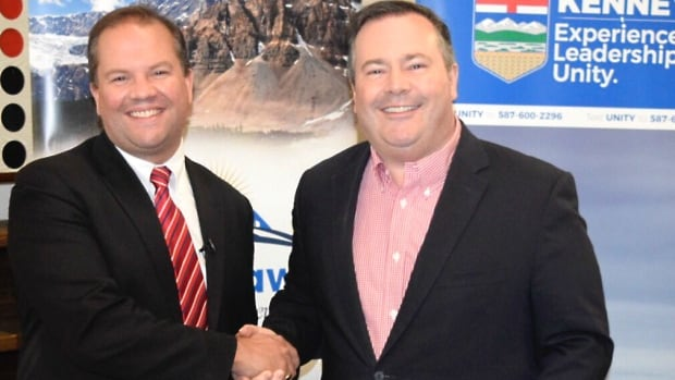 Jeff Callaway, left, is dropping out of the race to lead the new United Conservative Party and throwing his support behind Jason Kenney, right.