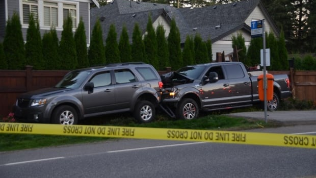 According to witnesses, the two vehicles were driving at high speeds, ignoring traffic signs, until the Mazda Tribute hit a 12-year-old cyclist. The Ford pickup then rear-ended the Tribute, whose occupants fled on foot.