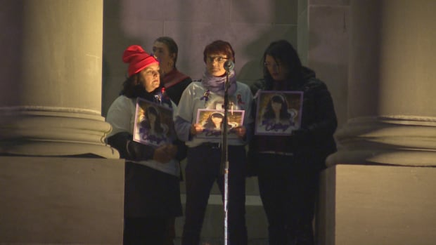The family of missing woman Cortney Lake, who is presumed dead, read out her name for the first time at the In Her Name vigil in St. John's on Oct. 4, 2017.